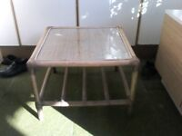 Coffee table bamboo and whicker with glass top insert