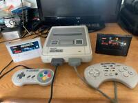 Snes Super Nintendo console 2 games 2 controllers