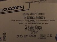 Cinematic Orchestra Tour 2016 - two tickets for GLASGOW 4th November