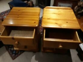 Bedside 3 drawer chest in solid pine - two available. Excellent condition.