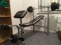 Weights bench (Maximuscle) & 35kg weights - great condition