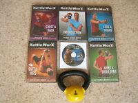 KettleWorx 5lb kettlebell c/w 5 unopened KettleWorx exercise DVD's