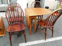 Pine drop leaf table and chairs