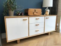 Oak Wood and White Gloss Sideboard (from Made)
