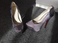 Diamonte skull platformed heels