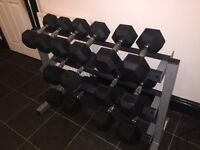 Body-Solid 3 Tier rack & Rubber hex Dumbbells (7 Pairs) GREAT VALUE FOR PRICE!