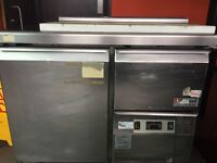 Caravell Stainless Steel Pizza Prep Station Fridge Chiller Counter 2 Door