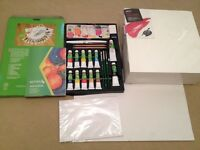 Reeves Acrylic Colour Complete Painting Set with 3 box canvases (30x30cm).