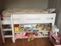 Girls bed with storage. Pink and cream