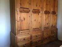 Quality Solid pine 4 door - 8 drawer quad wardrobe
