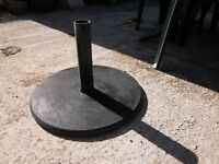 UMBERELLA STAND, POLISHED GREY MARBLE. BASE 12IN HEAVY ITEM, COST £100.