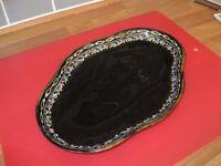 Cloisonne style black ceramic salver
