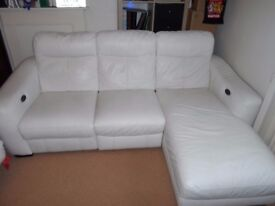 White Leather Power Recliner Corner Chaise Sofa