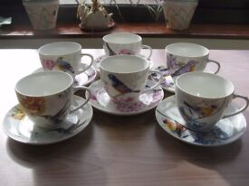 Waterside Fine China - 6 Cups and Saucers depicting painted birds - Original Packing.