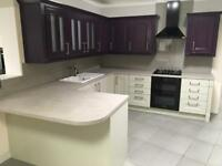 WREN EX DISPLAY ROYAL PURPLE AND MOSS STONE KITCHEN WITH BOSCH APPLIANCES