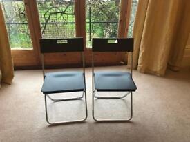 2 IKEA Gunde Folding Chairs - Black