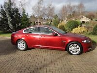 Jaguar XF luxury, 2.2 diesel, 2012 reg., in claret with cream leather upholstery