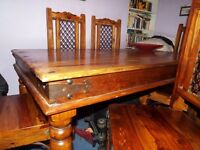 Large Indian Thakat dining table with 6 chairs.. Sensible offers considered