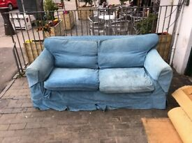 FREE BLUE SOFA READY TO BE COLLECTED MUST GO TODAY