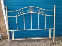 Kings Size (5 ft) bed headboard - metal frame in cream