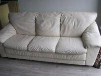**FREE 3 seater cream leather sofa FREE**