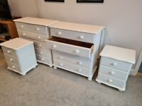 2 x Chest of Drawers and 2 x Bedside Tables - Real Pine wood painted white