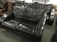 As new quality black leather 3 and 2 sofas