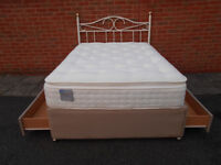 Double divan bed with drawers and headboard