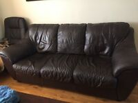 Free for collection 3 Seater and 2 Seater leather brown settes