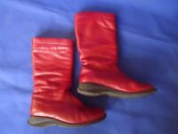 Women's Murtosa Red Leather Boots Size 37