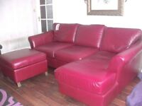 Leather Suite Cherry coloured next to new was £4,000 now £399. Beautiful condition .
