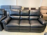 Brand New Black Faux Leather 3 and 2 Seater Recliner Sofas and 1 Recliner Armchair