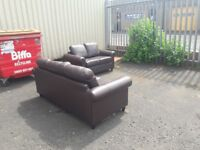 Real leather 3 & 2 seater sofas ** £140 free delivery **