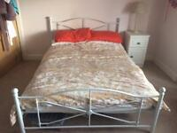 Simple Off White Double Bed Metal Frame