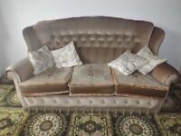 Velour 3 Piece Suite. Clean & very good condition. (1 Sofa, 2 Armchairs)