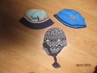 3 Baby/toddler hats - 2 sunhats plus 1 winter hat. Age 1 yr to 5 years Boys
