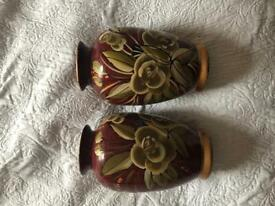 Two burgundy flower print vases great condition