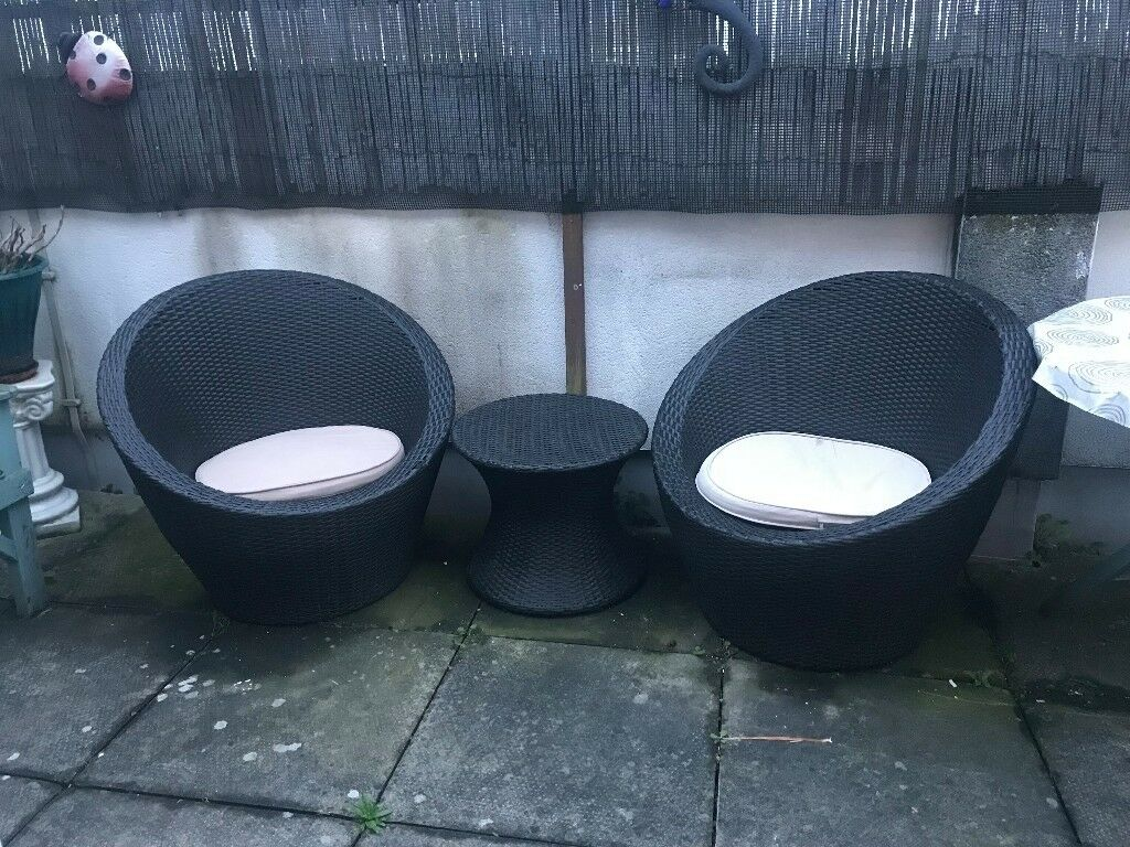 HOME Rattan Effect 2 Seater Duck Egg Patio Set With
