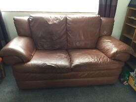 Large 3 seater and 2 seater leather sofas