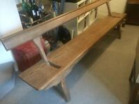 Victorian Scots pine long bench with tilting back