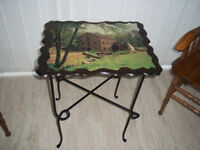 Vintage Retro Side table with Water Mill Picture / Scene Top Metal Frame