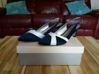JACQUES VERT SHOES SIZE 6 WEDDING OCCASION NAVY AND WHITE WORN ONCE