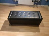 Black faux leather Sofabed and Ottoman