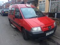 2004 PEUGEOT EXPERT 2L HDi TAXI VAN 9 Seater wheelchair Low Milage cheap insure