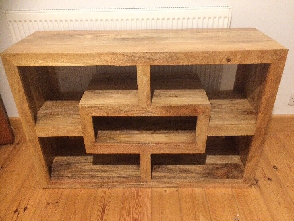 Mango Wood Cube Petite Tv Unit Or Stand Living Room