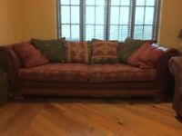4 Seater Real Leather and Material Sofa