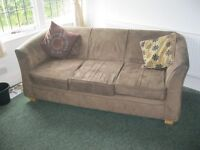 QUALITY MODERN BROWN SUEDE 3 SEATER 'TUB' SOFA. VERY COMFORTABLE. VIEW/DELIVERY AVAILABLE