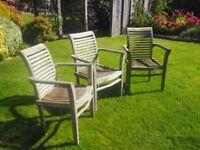 7 Wooden garden chairs