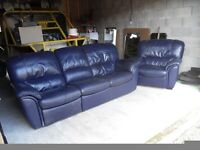 Blue leather settee and chair