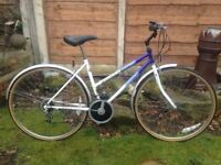 "Raleigh pioneer classic retro ladies 12 speed hybrid/shopper,18"" frame,700c wheels/mudguards,lock"